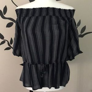 Abercrombie and Fitch off the shoulder striped top